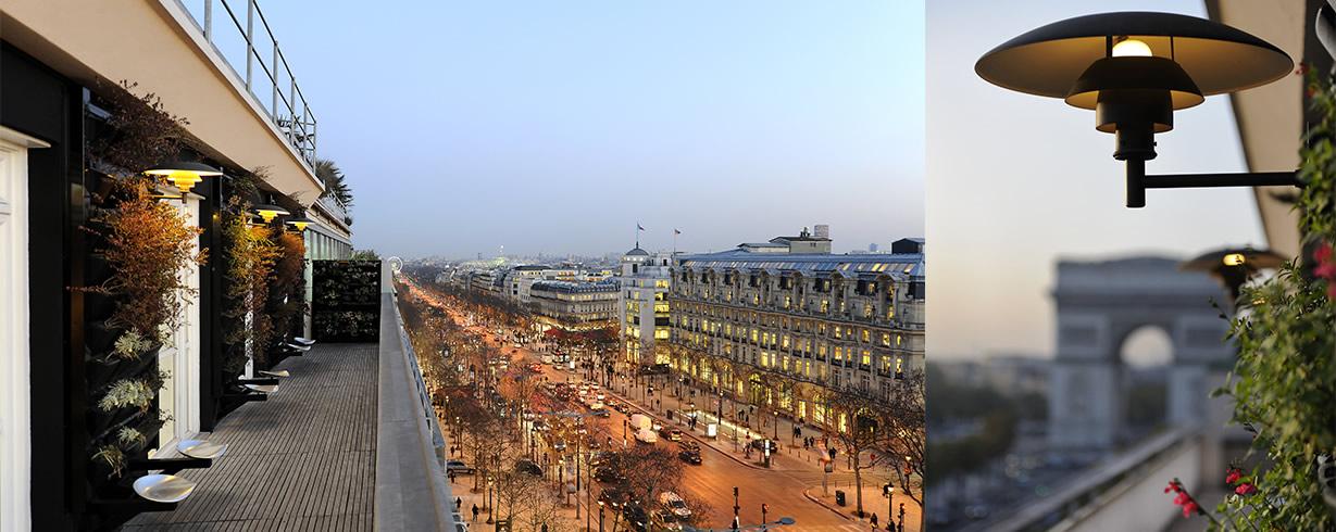 Privatisation le soir de la terrasse du Septième avec vue sur les Champs Elysées